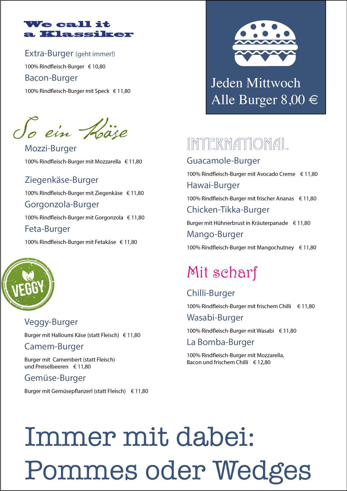 Extra Penzberg Burger Karte